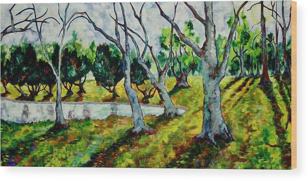 Land Park Wood Print featuring the painting Land Park Dancing Trees by Patrick Cosgrove