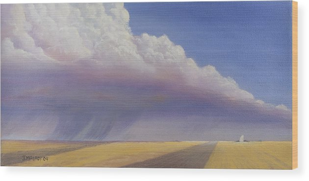 Landscape Wood Print featuring the painting Nebraska Vista by Jerry McElroy