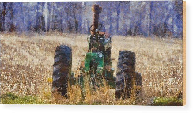 Old Green Tractor On The Farm Wood Print featuring the painting Old Green Tractor On The Farm by Dan Sproul