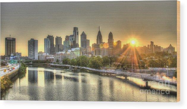 Philadelphia Wood Print featuring the photograph Philadelphia Sunrise by Mark Ayzenberg