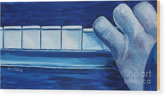 Piano Wood Print featuring the painting Playing The Blues by Julie Brugh Riffey