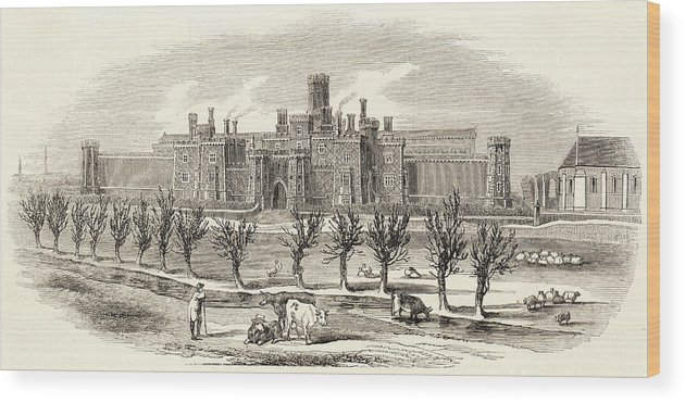 Law Wood Print featuring the drawing Reading Gaol- The New Gaol     Date by Illustrated London News Ltd/Mar