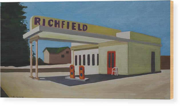 Gas Stations Wood Print featuring the painting Richfield Gas Station by Lety Garcia