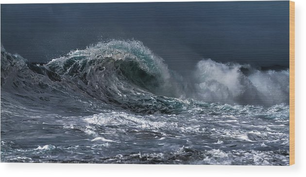 Dark Wood Print featuring the photograph Rough Wave by Kelly Headrick