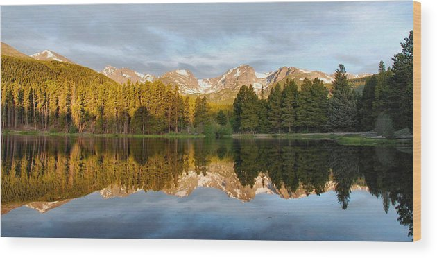 Rocky Mountains Wood Print featuring the photograph Sprague Lake Reflections by Stephen Vecchiotti