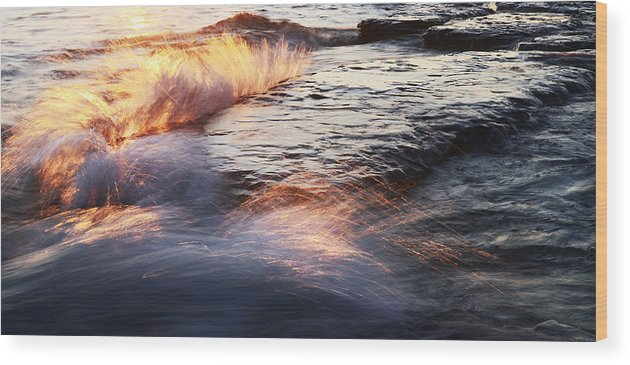 Surf Wood Print featuring the photograph Surf On Fire-1 by Steve Somerville