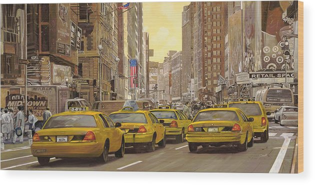 New York Wood Print featuring the painting taxi a New York by Guido Borelli