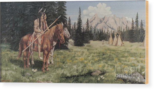 Landscape Wood Print featuring the painting The Tetons Early Tribes by Wanda Dansereau