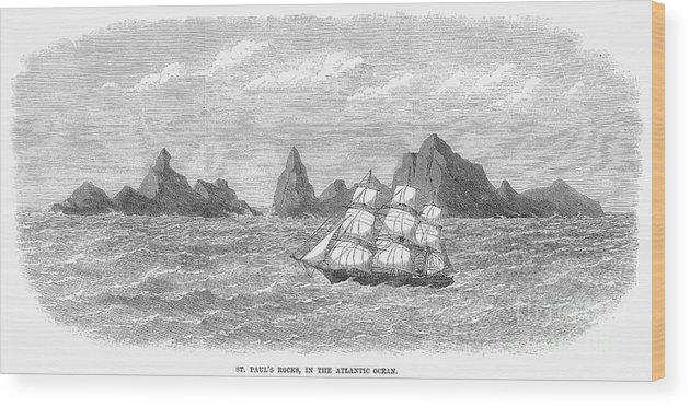 1869 Wood Print featuring the photograph Atlantic: St. Pauls Rocks by Granger