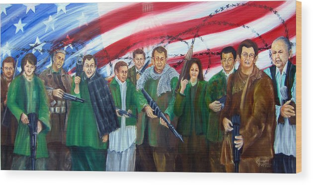 Current American Political Scene Wood Print featuring the painting Tealibanization Of The Usa by Leonardo Ruggieri