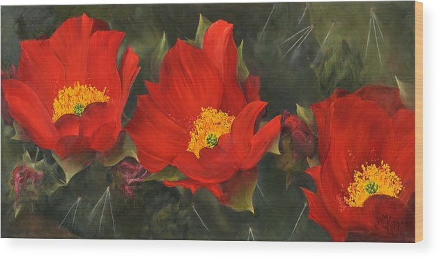 Flower Wood Print featuring the painting Triplets by Judith Koppes