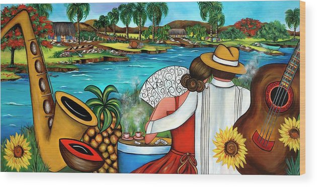 Cuba Wood Print featuring the painting A Place To Remember by Annie Maxwell