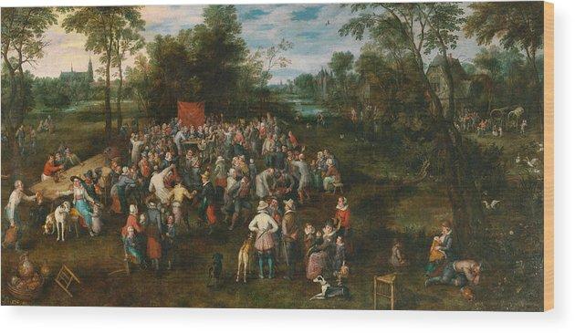 Arts Wood Print featuring the painting Wedding Banquet by Jan Brueghel the Elder