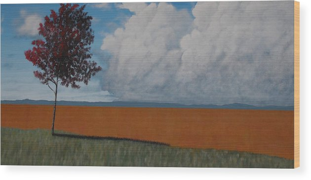 Landscape Wood Print featuring the painting After The Harvest by Candace Shockley