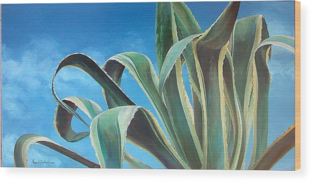 Floral Painting Wood Print featuring the painting Agave by Muriel Dolemieux
