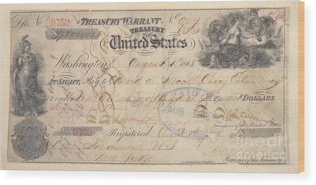 1867 Wood Print featuring the photograph Alaska Purchase: Check by Granger