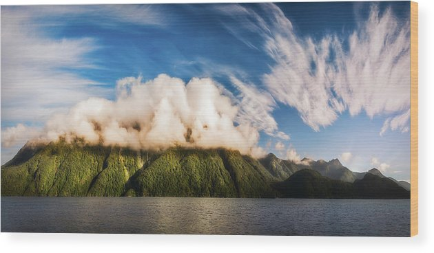Doubtful Sound Wood Print featuring the photograph Amazing Cloud Formation At Lake Manapouri In New Zealand by Daniela Constantinescu