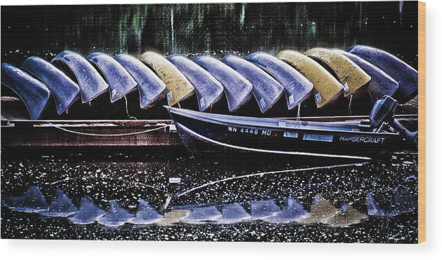 Canoes Wood Print featuring the photograph At Rest by Tom Vaughan