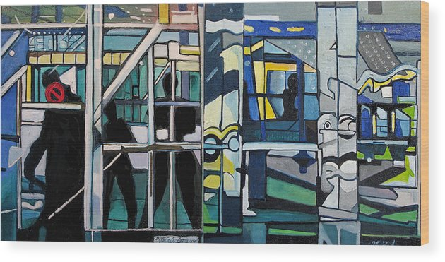 Abstract Wood Print featuring the painting Atlanic City Abstract No.1 by Patricia Arroyo