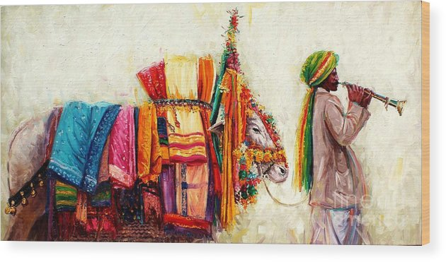 South Indian Painting Wood Print featuring the painting Boom Boom Cow by Sivabalan