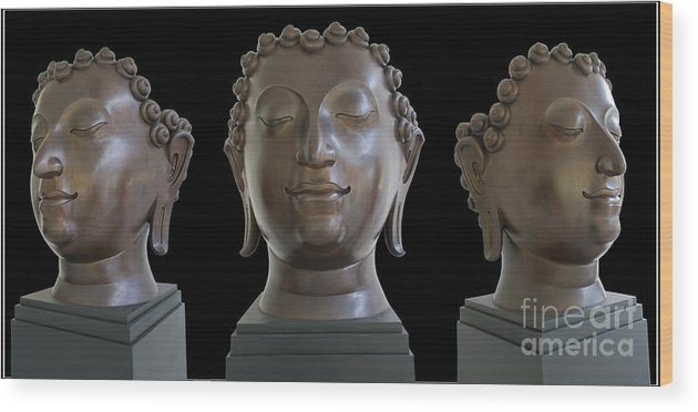 Buddha Head Photography Sculpture Wood Print featuring the photograph Buddha Head by Ty Lee