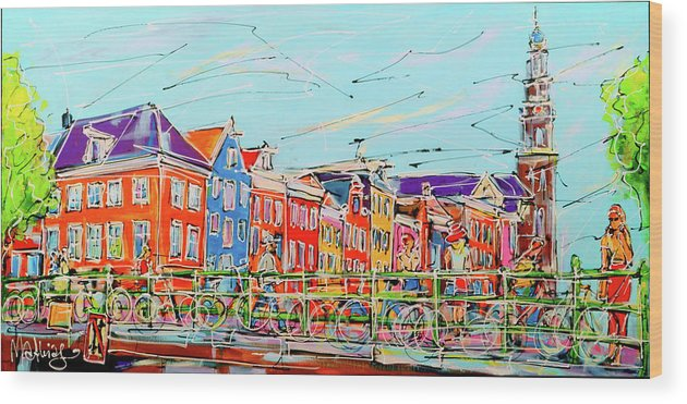 Amsterdam Wood Print featuring the painting Canal Of Amsterdam, Bridge And Westerkerk by Mathias