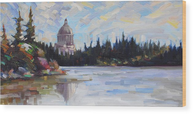 Olympia Wood Print featuring the painting Capitol Reflections by Gregg Caudell