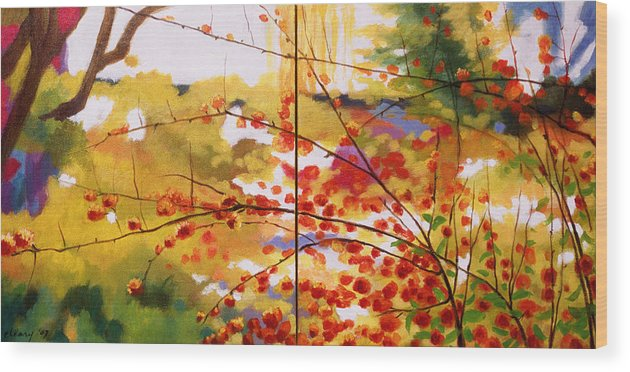 Landscape Wood Print featuring the painting Chinese Garden Grace by Melody Cleary