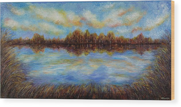 Landscape Wood Print featuring the painting Clouds. by Evgenia Davidov