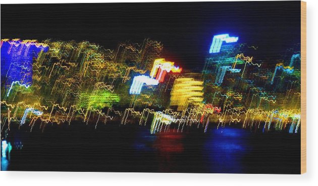 Night Wood Print featuring the photograph Electri City by Roberto Alamino