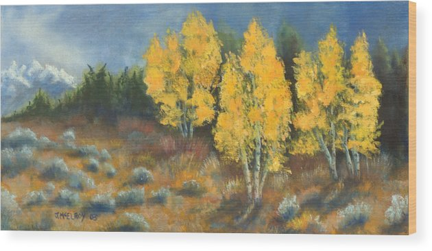 Landscape Wood Print featuring the painting Fall Delight by Jerry McElroy