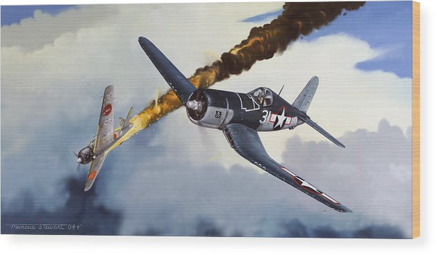 Military Wood Print featuring the painting First Kill For The Jolly Rogers by Marc Stewart