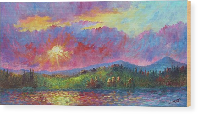Landscape Wood Print featuring the painting Front Range Sunset by David G Paul