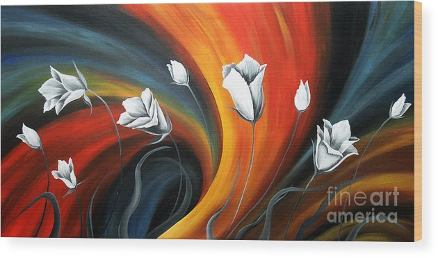 Floral Canvas Paintings Wood Print featuring the painting Glowing Flowers 5 by Uma Devi