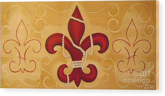 Fleur De Lis Wood Print featuring the painting Heart Of New Orleans by Valerie Carpenter