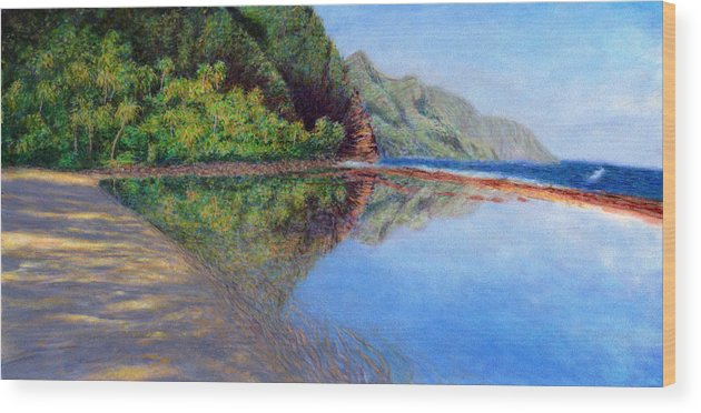 Rainbow Colors Pastel Wood Print featuring the painting Ke'e Morning by Kenneth Grzesik