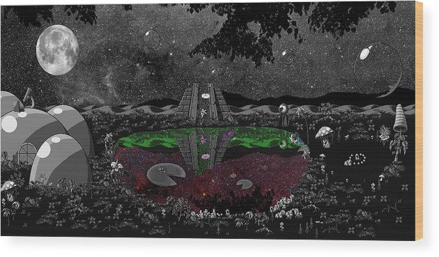 Landscpe Wood Print featuring the digital art Lake Of Dreams by Rox Flame