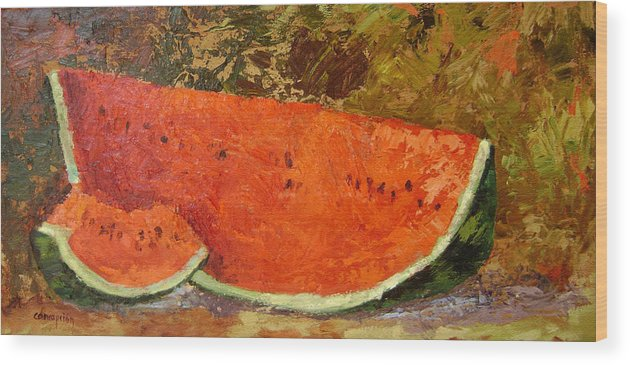 Watermelon Wood Print featuring the painting Last Of Summer by Ginger Concepcion