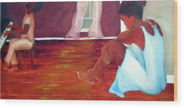 Piano Wood Print featuring the painting Longing by Alima Newton