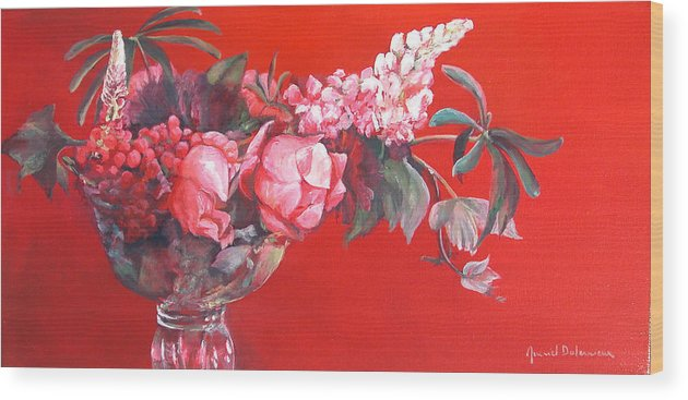 Floral Painting Wood Print featuring the painting Lupin by Muriel Dolemieux