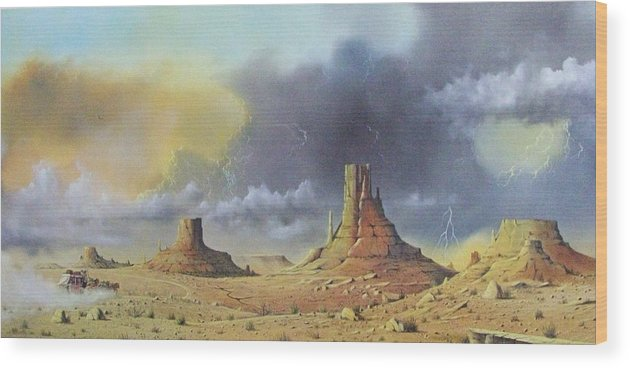 Landscape Wood Print featuring the painting Making Up Time by Don Griffiths