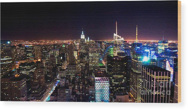 Manhattan Wood Print featuring the photograph Manhattan By Night by Rob Hawkins