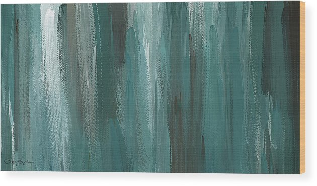 0edae28e61c Teal Wood Print featuring the painting Meet Halfway - Teal And Gray  Abstract Art by Lourry