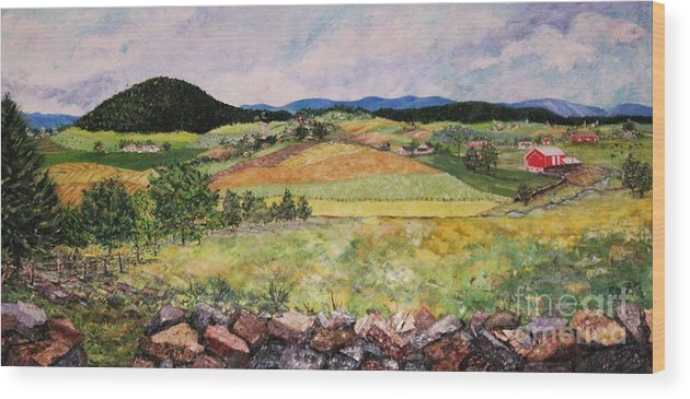 Landscape Wood Print featuring the painting Mole Hill In Summer by Judith Espinoza