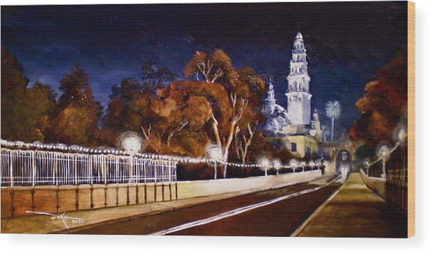Cityscapes Wood Print featuring the painting Nocturnal Cabrillo by Duke Windsor
