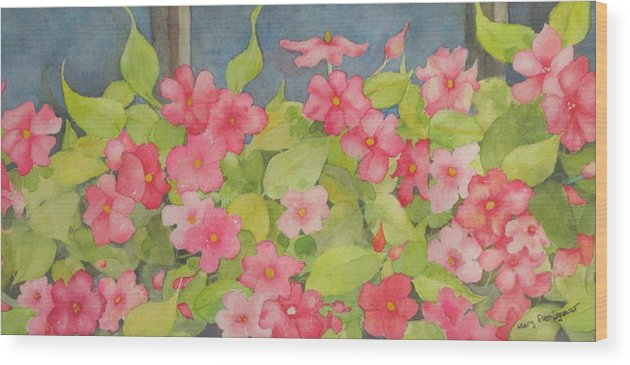Flowers Wood Print featuring the painting Perky by Mary Ellen Mueller Legault