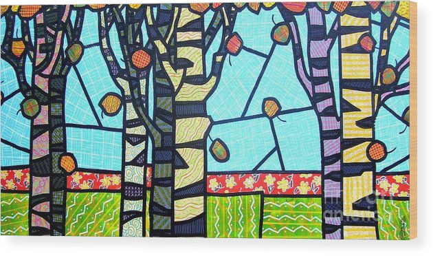 Birch Trees Wood Print featuring the painting Quilted Birch Garden by Jim Harris
