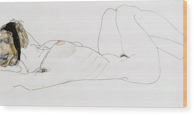 Nude Wood Print featuring the drawing Reclining Female Nude by Egon Schiele