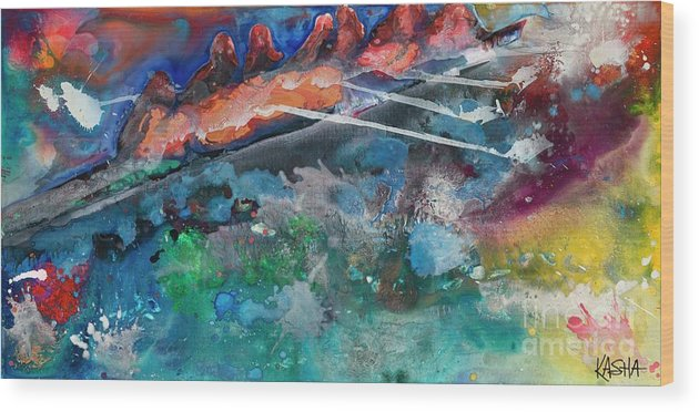 Abstract Wood Print featuring the painting Row Your Boat by Kasha Ritter