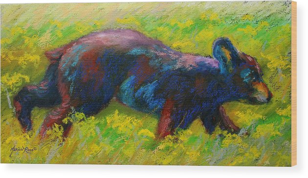 Western Wood Print featuring the painting Running Free - Black Bear Cub by Marion Rose